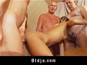 old college gang penetrate featuring lean young light-haired