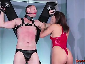 horny black-haired domina pegs her gimp