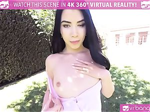 VR porn - luxurious chick Dee take a yam-sized wood in the park