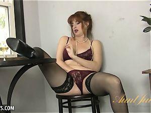 Amber Dawn enjoyments herself wearing thigh highs.