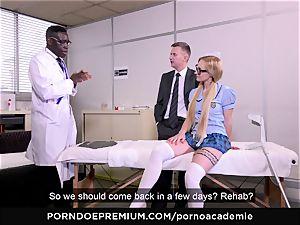 porn ACADEMIE - ass fucking threeway with platinum-blonde schoolgirl