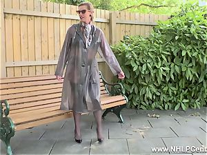 insane mummy jacks in public in nylons garters stilettos