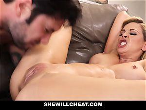 SheWillCheat cuckold wife Gags on spunk-pump