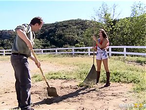 August Ames gets her titties creamed outdoors