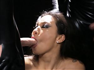 Asa Akira gets mass ejaculation from 3 rubber dressed studs