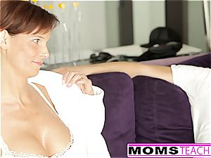 mummy trains her redhead stepdaughter how to blow man rod