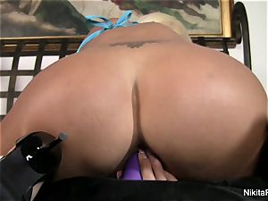 super-hot blonde Nikita plays with a purple fucktoy