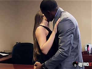 Lusty seductress IR plowed by suspended boss