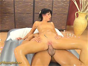 greasy massage romp with Gina Devine