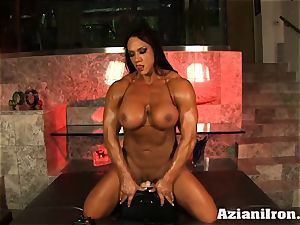Amazon goddess Amber Deluca loves her sybian saddle ejaculation
