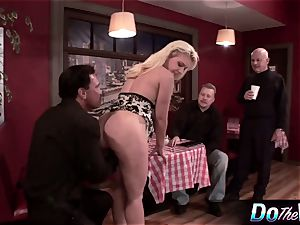platinum-blonde wife gets her pink hole plugged