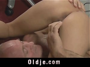 elderly manager spoiling the super-naughty cunt of his Romanian maid