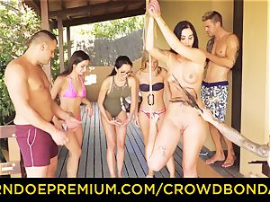 CROWD bondage Outdoor pool romp for super-hot Loren Minardi