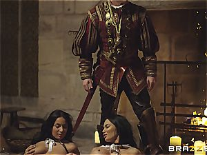 Alluring Anissa Kate and Jasmine Jae conform the king's will and cock